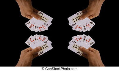 stopmotion of a hand holding playing cards, casino, gaming and gambling clip