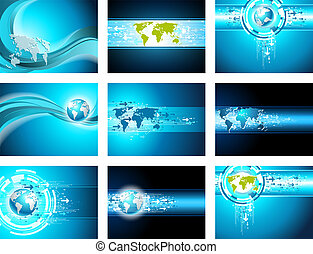 Map site business arrow backgrounds. Vector banner set.