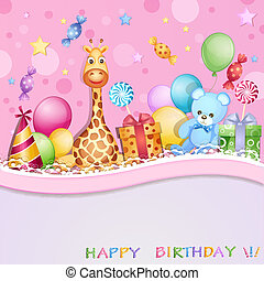 Birthday card with balloons, gifts and candies