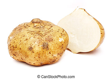 Yam Bean - Yam bean cut into half isolated on white...