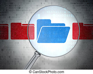 Magnifying optical glass with Folder icons on digital...