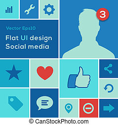Flat UI design trend social media set icons - Flat UI design...