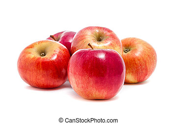 red apples on white background
