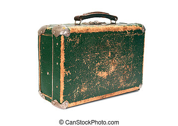 Old green shabby suitcase on white background