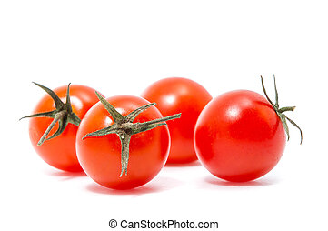 red cherry tomatoes on white background