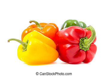 four bell peppers on white background