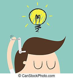 ideas - Young businessman with ideas as symbol of business...