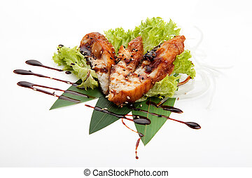 Sashimi fried perch - Sashimi of idzumi tai kabayaki, on...