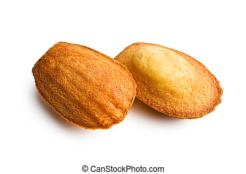 madeleine cookies on white background