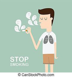 Stop Smoking - man smoking cigarette wearing black lung...