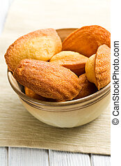 sweet madeleine cookies on table