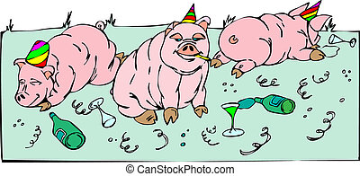 Pigs celebrations of new year