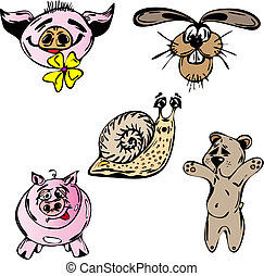 Animals set - Set of vector animals - pig, snail, rabbit and...