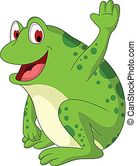 cute frog cartoon smiling - vector illustration of cute frog...