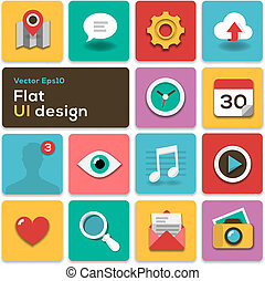 Flat UI design trend set icons, vector Eps10 illustration