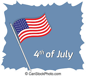 4th July greeting card - Vector illustration of 4th July...