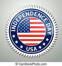 USA Flag - Vector illustration of lable with  USA Flag