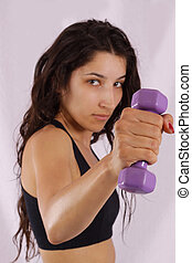 Fitness training - Pretty girl losing weight by fitness...