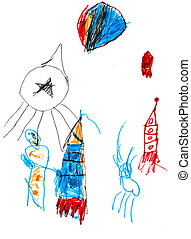 child's, drawing, -, space, rockets