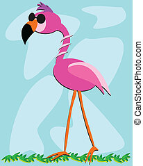 Cool Flamingo Wearing Sun Glasses - Here is a cool Flamingo...