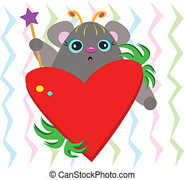 Cute Mouse with Heart and Wand - This cute Mouse loves to...