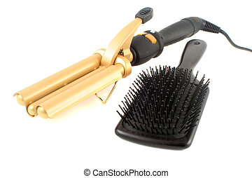 curling iron and brush - tripple barrel curling iron used on...