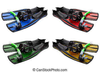 Set of multicolored mask, snorkel and flippers with water...