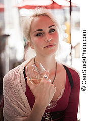 Beautiful Young Woman with Glass of White Wine - Portrait of...