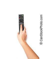 hand holding a TV remote control on a white background
