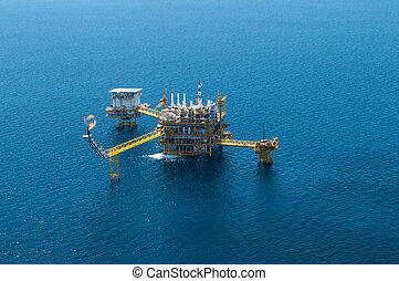 Oil and gas rig from bird eyes view
