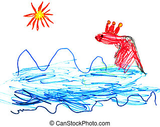 child's drawing - fish queen in sea
