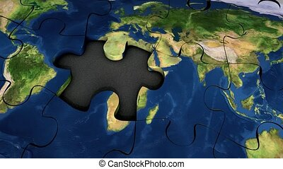 Jigsaw puzzle - World map puzzle.