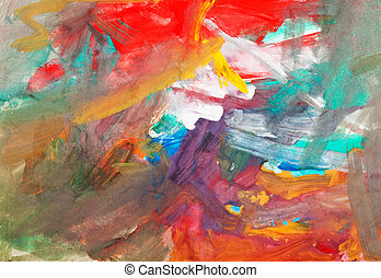 child's painting - textured gouache brush strokes