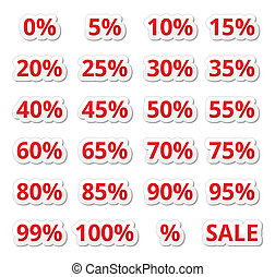 Retail sale percents % vector icons - Shopping icons set -...
