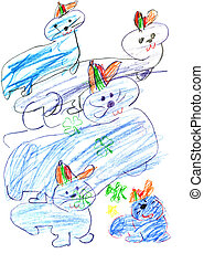 child's, drawing, -, playing, seals