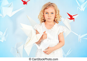 paper birds - Beautiful little girl in her dream world...