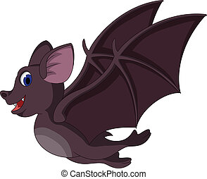 Cute Cartoon bat flying - vector illustration of Cute...