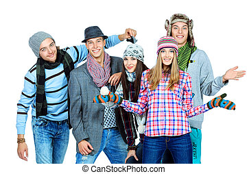 five friends - Group of cheerful young people in autumn...