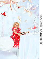 fairy tales - Beautiful little girl dreaming with her book...