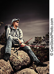 dreamer - Handsome young man tourist making his journey at...