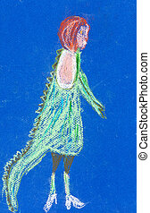 child's drawing - girl in fancy dress - childs drawing -...