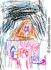 child's drawing - girl in house at night