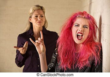 Sneering Parent and Loud Daughter - Angry parent with loud...