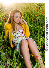 young Woman sexy look poppy field, sunset view