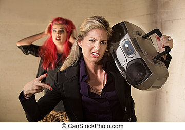 Awkward Woman with Boom Box - Awkward funny woman with radio...
