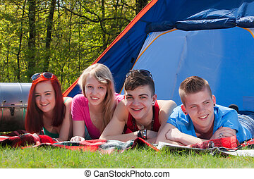 Relaxing in our vacation - Young teenager group are having...