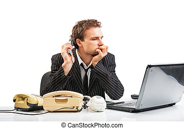 Businessman in office ponders the state of affairs in the...