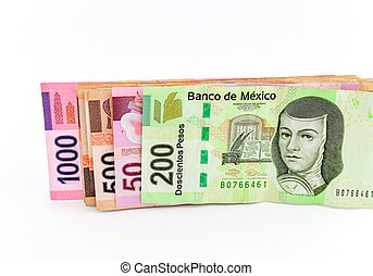 Currrency - Four mexican peso banknotes of various...