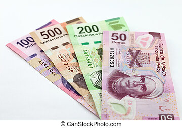 Money - An image showing the 1000, 500, 200 and 50 Mexican...