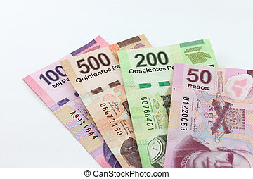 Mexican Pesos - An image showing the 1000, 500, 200 and 50...